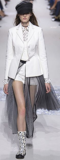 Dior Spring 2018 - I like the balance of masculine in crisp white and feminine in gray.  Strong and sexy - and showing off the legs.