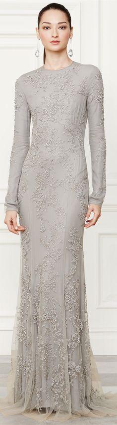 Ralph Lauren Collection ~ Grey Beaded Danielson Gown