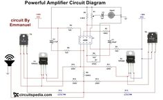 This is powerful 4558 Audio Power Amplifier circuit. In this high power Audio amplifier circuit ,one ic 4558 and 4 Power transistors are used with some discrete components. Crown Amplifier, Car Audio Amplifier, Wireless Speakers, Electrical Schematic Symbols, Electronic Schematics, Ab Circuit, Circuit Diagram, Electronic Circuit Projects, Electronic Engineering