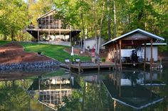 Visit LAKEHOUSE.com to view this Home and other Lake Real Estate for sale. This Home is located in Mount Gilead, NC on Lake Tillery. 3 BR, 3416 Sq Ft, $469000 - Lots Of Rooms For Company!!. Beautiful waterfront home with many special features. This 3-bedroom (plus extra bonus room) & 3-full bath home has an awesome finished basement. Cathedral & vaulted ceilings, 2-fireplaces, master bedroom with private balcony overlooking lake & newly remodeled bath, large screened porch (really…