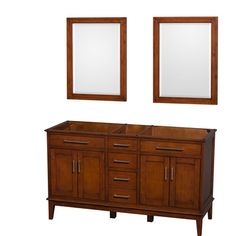 "Wyndham Collection Hatton 59"" Double Bathroom Vanity Base Base Finish: Light Chestnut"