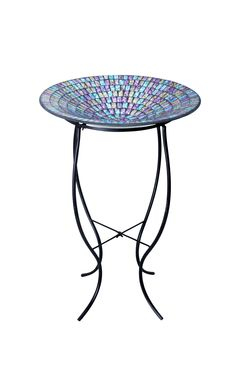 Mosaic Glass Bird Bath with Metal Stand