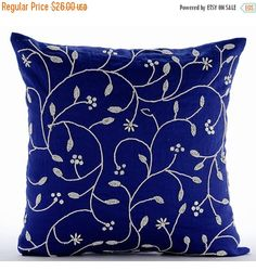 The HomeCentric Royal Blue Throw Pillows Cover Couch, Beaded Leaves Floral Theme Pillows Cover, inch cm) Pillow Cover, Square Cotton Linen Throw Pillows Cover, Floral - Day Dreamer Blue Throw Pillows, Diy Pillows, Linen Pillows, Decorative Throw Pillows, Throw Cushions, Cushion Cover Designs, Embroidered Cushions, Royal Blue, Cotton Linen