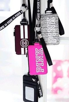 Victoria's Secret Pink LANYARD / WRISTLET ID Badge Holder Zip WALLET Marl GREY