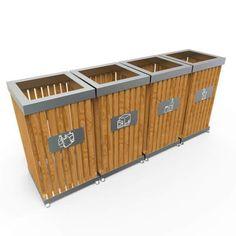 boras poubelle dextrieur pour tri slectif en bois et inox 50l 100l - Poubelle Tri Selectif 3 Bacs