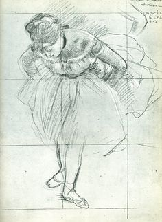 Degas Drawings | Dancer Leaning Forward. Black pencil and chalk on gray paper.