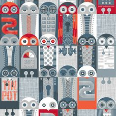 Totally loving these robot owls from Alex Morgan, a graphic artist based in the UK.  You can get fabric of this at http://www.spoonflower.com/profiles/spellstone