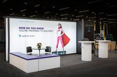 Simple bold concept has the benefit of a impactful statement within a visually busy space (Tradeshow)