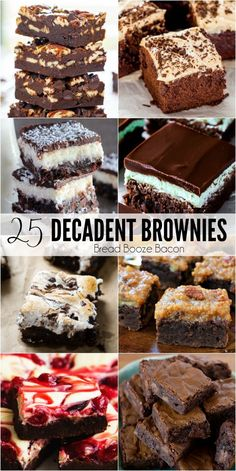 Sometimes I get the worst chocolate cravings & there's nothing I love more to satiate my sweet tooth than these 25 Decadent Brownie Recipes! via /breadboozebacon/