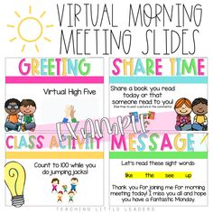 Virtual Morning Meeting Ideas for Distance Learning Morning Meeting Kindergarten, Morning Meeting Activities, Kindergarten Classroom, Classroom Activities, Morning Meetings, Class Meetings, Classroom Ideas, Meeting Games, Online Classroom