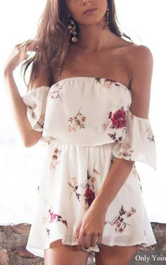 #summer #outfits / off the shoulder white flower print romper