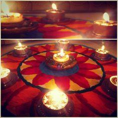 Diwali decoration - Rangoli and Lamps