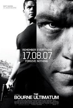 The Bourne Ultimatum , starring Matt Damon, Édgar Ramírez, Joan Allen, Julia Stiles. Jason Bourne dodges a ruthless CIA official and his agents from a new assassination program while searching for the origins of his life as a trained killer. Action Movie Poster, Best Movie Posters, Action Movies, Cinema Posters, Jason Bourne, Julia Stiles, Love Movie, Movie Tv, Matt Damon Movies