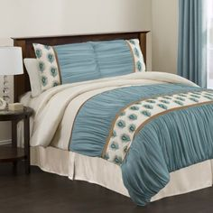 Triangle Home Fashions 18344 Lush Decor 4Piece Aurora Comforter Set KingSize IvoryTurquoise >>> AMAZON Great Sale