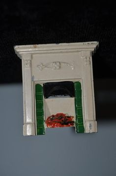 Old Doll Miniature Taylor & Barrett Fireplace Fire Place Dollhouse Metal
