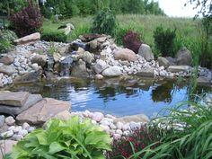 Laghetto da giardino con piccole cascate