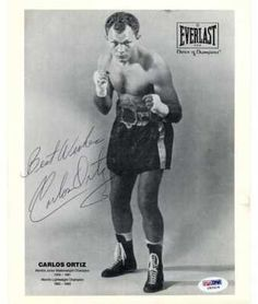 """CARLOS ORTIZ HAND SIGNED BW BOXING 8X10~PSA DNA COA . $30.00. CARLOS ORTIZ HAND SIGNED BW BOXING 8X10~PSA DNA COA DESCRIPTION: CARLOS ORTIZ HAND SIGNED BLACK AND WHITE 8X10"""" PHOTO. CLICK ON IMAGE FOR CLEARER AND LARGER VIEW SIGNATURE IS AUTHENTICATED BY PSA DNA. CERTIFICATE OF AUTHENTICITY (COA) INCLUDED TO MATCH NUMBERED STICKER ON PHOTO. PSA DNA COA #I82418. ITEM PICTURED IS ACTUAL ITEM RECEIVED."""