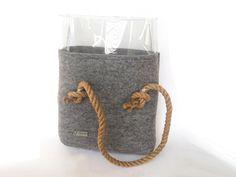 Clear tote bag Teal Felt Bag Tote Bag Felted bag by YPSILONBAGS