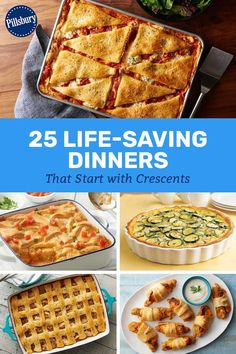 30 Life-Saving Dinners That Start with Crescents Cheese Recipes, Meat Recipes, Cooking Recipes, Potluck Recipes, Pillsbury Recipes, Pillsbury Dough, Bread Dishes, Casserole Dishes, Crescent Roll Recipes