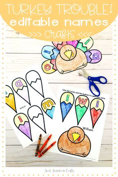 Editable Thanksgiving simple turkey craft that can be personalized so that you can program the worksheets with each child's name! So easy to use - simply type your student list into the forms and generate personalized turkeys for your students! Practice names and letter recognition, coloring, cutting and gluing, with a purpose! Turkey Trouble, Turkey Craft, Letter Recognition, Thanksgiving Crafts, Kid Names, Bulletin Boards, Worksheets, Purpose, Coloring