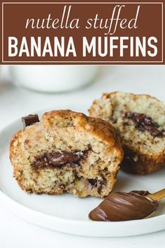 Moist Nutella stuffed banana muffins. Super quick and easy to make. It's the perfect snack for breakfast or brunch.