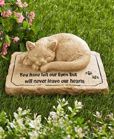 CAT MEMORIAL GARDEN STATUE Outdoor Stone Grave Marker Headstone Loved  Kitten Cat   Http:/