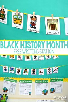 Free Writing Center for Kindergarten or First Grade.  Celebrate February and Black History Month with Ruby Bridges, Rosa Parks, and so many more.