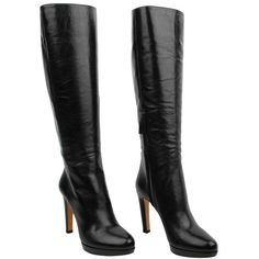 PRADA Leather Knee High Low Heel Boot ($515) ❤ liked on Polyvore featuring shoes, boots, sapato, women, low heel knee high boots, knee high leather boots, side zip boots, lined boots and short high heel boots