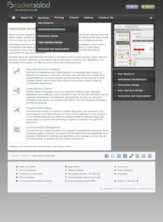 One of our services pages (Information Architecture) in the Classic theme. Shows active and hover states in menus. Rocket Salad, Information Architecture, Classic Theme, User Interface Design, User Experience, Interactive Design, Website, Interaction Design, Ui Design