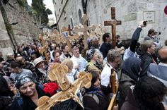 Thinkstock -- Christian Pilgrimage  Christian pilgrims often carry crosses while walking the Via Dolorosa during Holy Week in Jerusalem.  A Holy Week Journey from the Last Supper to Easter As we journey through Holy Week, from Palm Sunday through Good Friday to Easter Sunday, these photographs from the Holy Land offer inspiration and a glimpse of the land where Jesus walked.