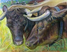 """Daily Paintworks - """"Conversation Animals, pastel,..."""" by emily Christoff-Flowers"""