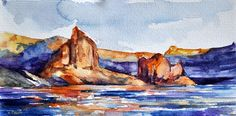 ORIGINAL Watercolor Landscape Painting, Colorful Impressionist Mountain Canyon  4x8 inch