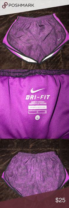 Nike dri fit tempo shorts Nike tempo dri fit shorts. Pretty purple and black design, has built in underwear. Never worn! Please make an offer 😊 Nike Shorts