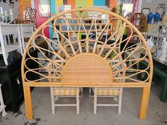 Vintage Arched Rattan King Headboard