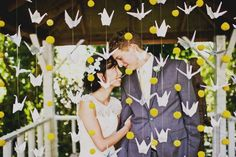 One thousand paper cranes bring one thousand years of health and prosperity on the new couple.