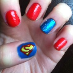 Superman nails :) my nails are finally growing!!!