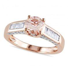 Morganite & Baguette Diamond Engagement Ring in 14k Rose Gold (1.30ct) - Allurez.com