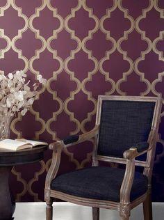 Apartment decor. Temporary wallpaper. Tempaper - Marrakesh Wallpaper MA at 2Modern.