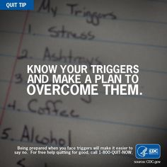 Quit Tip: Write down your #smoking triggers. They can't all be avoided, but you can be prepared to overcome them.