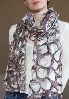 100% Hand made felted shawl