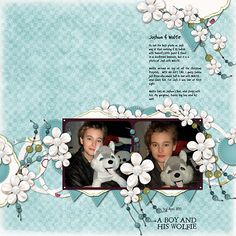 A boy and his Wolfie - Scrapbook.com - Cherry Blue Add On Pack by Erica Belton. DSP