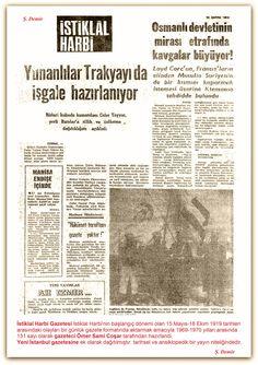 23.05.1919 İstiklal Harbi Gazetesi İstiklal Harbinin başlangıç dönemi olan 15 Mayıs-18 Ekim 1919 tarihleri arasındaki olayları bir günlük gazete formatında aktarmak amacıyla 1969-1970 yılları arasında 131 sayı olarak gazeteci Ömer Sami Coşar tarafından hazırlandı. Yeni İstanbul gazetesine ek olarak dağıtılmıştır. tarihsel ve ansiklopedik bir yayın niteliğindedir. Turkey Country, Newspaper, Basin, Istanbul, Empire, Cartoons, History, Cartoon, Historia