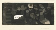 Paul Klee  'Stilleben mit Zerbro' (Still life with Broken Mirror)  1932  Brush and ink and ink wash on paper mounted on card  8 1/4 x 18 7/8""