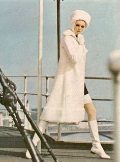 Winter fashion with go go boots, 1960s,