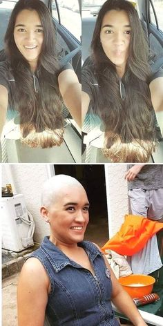 Her head is now nude:)) Straight Hairstyles, Girl Hairstyles, Before And After Haircut, Grow Hair, Hair Growing, Bald Girl, Bald Women, Extreme Hair, Shaved Head