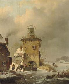 Frederik Marinus Kruseman (Haarlem 1816-1882 Sint-Gillis) A winter landscape with people on a frozen waterway near a ruinous mill