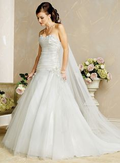 Mellifluous Beads Working Flower Sweetheart Tulle Chapel Train Satin Wedding Dress for Brides