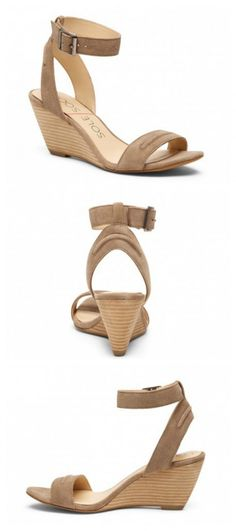"Luxurious suede wedge sandal with a comfortable 2.5"" heel. Perfect for all your warm-weather looks!"