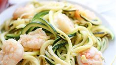 Skip the pasta and opt for healthy zucchini noodles (zoodles) for this delicious shrimp scampi recipe.