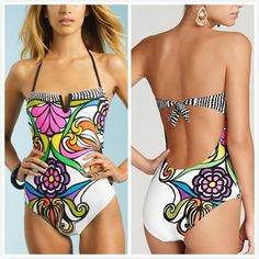 Hot Women Sexy Strapless Drawstring Halter One Piece Swimsuit Printing Bikini Sets For Female Bathing Suits Femme